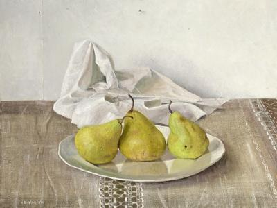 Three Pears on a Plate, Still Life, 1990