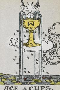 Tarot Card With a Hand Holding a Gold Cup Over a Pond. a White Bird Flies Into the Cup by Arthur Edward Waite