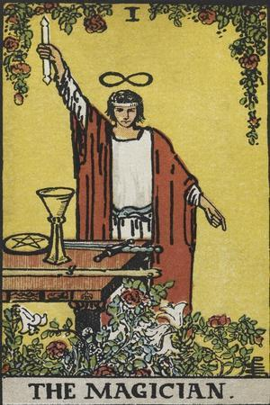 Tarot Card With a Magician Holding an Object Wearing a Red Robe, Before a Table With a Sword