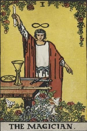 Tarot Card With a Magician Holding an Object Wearing a Red Robe, Before a Table With a Sword by Arthur Edward Waite