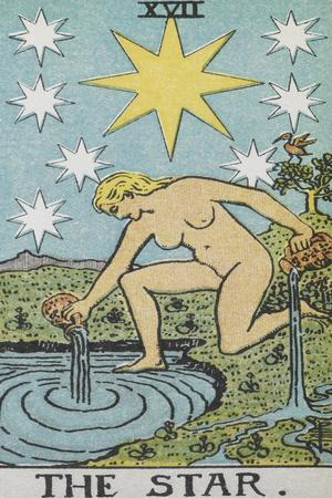 Tarot Card With a Nude Woman by a Lake With Vessels Of Water. Stars Shine Overhead