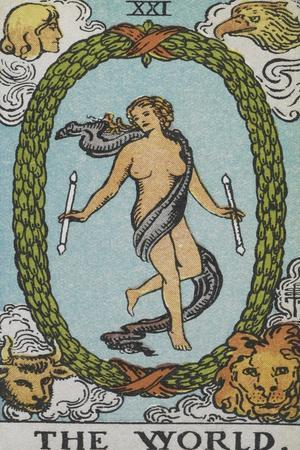 Tarot Card With a Woman Floating Inside a Wreath Of Green Leaves With the Head Of a Man