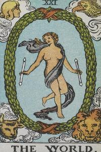 Tarot Card With a Woman Floating Inside a Wreath Of Green Leaves With the Head Of a Man by Arthur Edward Waite