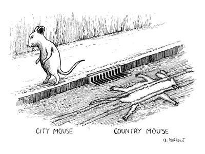 One mouse walking on the sidewalk, one mouse flattened on the pavement - New Yorker Cartoon