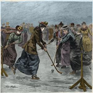 Ice Hockey : a ladies match on the lake in Wimbledon Park (later colouration) by Arthur Hopkins