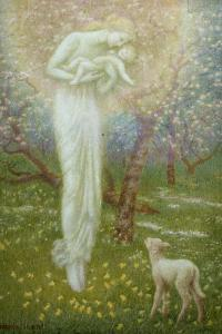 Little Lamb, who made thee? by Arthur Hughes