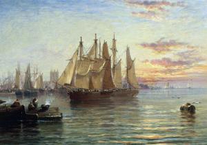 Shipping Below Hull, Evening by Arthur J^ Meadows