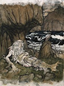 A Crowned 'Merman', a Sea God Sleeping on a Rocky Shore by Arthur Rackham