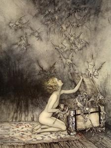 A Sudden Swarm of Winged Creatures Brushed Past Her by Arthur Rackham