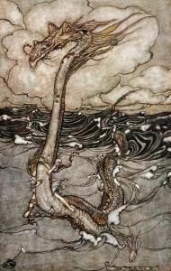A Young Girl Riding a Sea Serpent, 1904 by Arthur Rackham