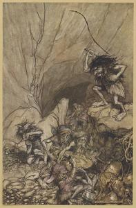 Alberich and Nibelungs by Arthur Rackham