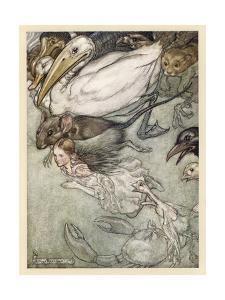 Alice and Pool of Tears by Arthur Rackham