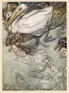 Alice and Pool of Tears by Arthur Rackham