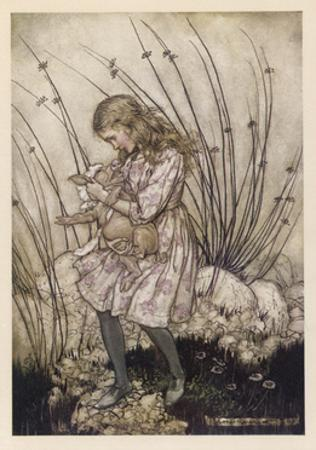 Alice Holds the Baby Pig