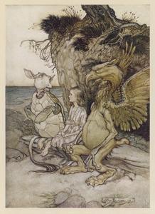 Alice, Mock-Turtle, Grypho by Arthur Rackham