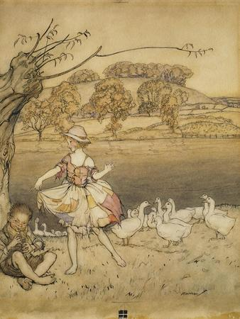 An Illustration to 'English Fairy Tales': Tattercoats Dancing While the Gooseherd Pipes