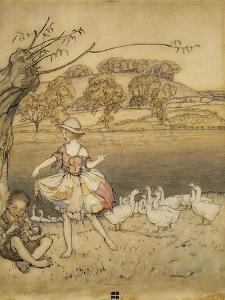 An Illustration to 'English Fairy Tales': Tattercoats Dancing While the Gooseherd Pipes by Arthur Rackham
