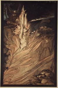 Appear, flickering fire!, illustration from 'The Rhinegold and the Valkyrie' by Arthur Rackham