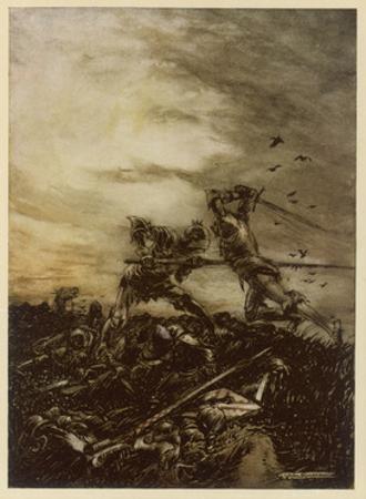 Arthur Versus Mordred by Arthur Rackham