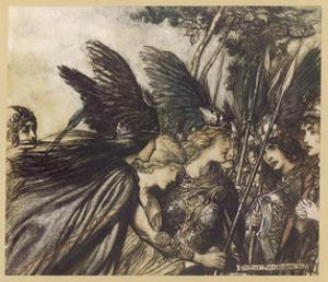 Brunnhilde and Valkyries by Arthur Rackham