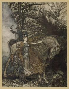 Brunnhilde at Cave by Arthur Rackham