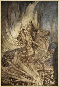 Brunnhilde on Grane leaps on funeral pyre, illustration, 'Siegfried and the Twilight of Gods' by Arthur Rackham