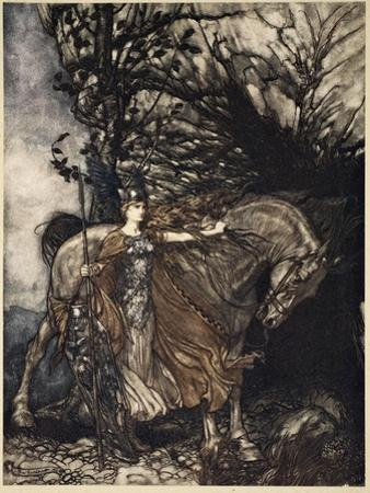 Brunnhilde with horse at mouth of cave, illustration from 'The Rhinegold and the Valkyrie', 1910