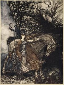Brunnhilde with horse at mouth of cave, illustration from 'The Rhinegold and the Valkyrie', 1910 by Arthur Rackham