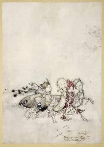 Enter Peasebottom, Cobweb, Moth, and Mustardseed by Arthur Rackham