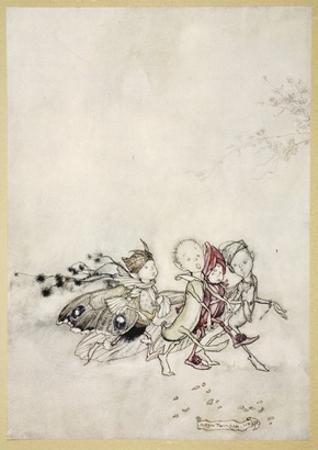 Enter Peasebottom, Cobweb, Moth, and Mustardseed by Arthur Rackham