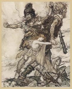Fasolt and Fafner by Arthur Rackham