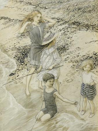 Four Children at the Seashore, 1910 (W/C on Paper)