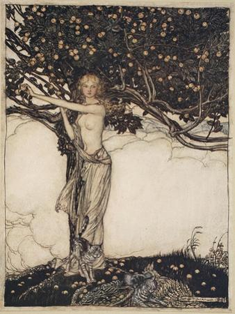 Freia, the fair one, illustration from 'The Rhinegold and the Valkyrie', 1910 by Arthur Rackham