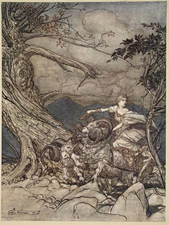 Fricka approaches in anger, illustration from 'The Rhinegold and the Valkyrie', 1910