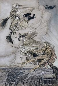 Hey! Up the Chimney Lass! Hey after You!, Illustration in 'The Ingoldsby Legends of Mirth And… by Arthur Rackham