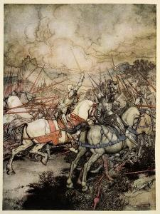How Arthur Drew His Sword, Excalibur, for the First Time by Arthur Rackham