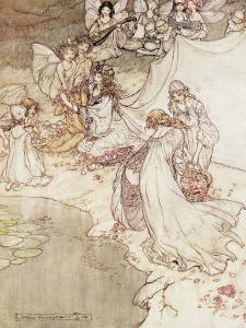Illustration for a Fairy Tale, Fairy Queen Covering a Child with Blossom by Arthur Rackham
