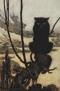 Illustration From Jorinda and Joringel Of a Black Cat by Arthur Rackham