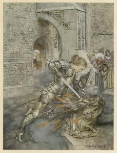 Lancelot Kills Dragon by Arthur Rackham