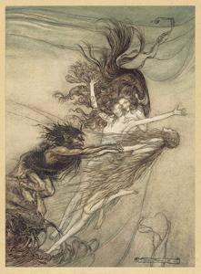 Maidens Tease Alberich by Arthur Rackham