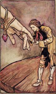 Original Watercolour Illustration for 'Gulliver's Travels' by Swift, Gulliver in Brobdingnag, 1909 by Arthur Rackham