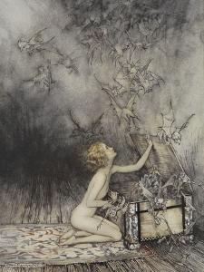 Pandora Opening a Box, From Which Flies Bats by Arthur Rackham