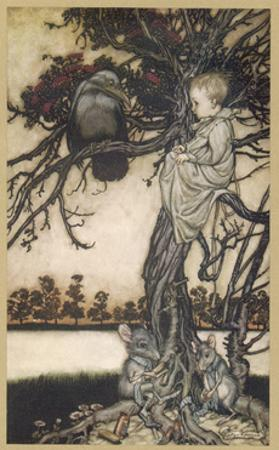 Peter Pan and Solomon Caw by Arthur Rackham