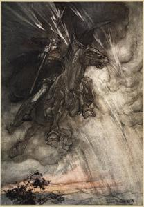 Raging, Wotan Rides to the Rock!, frontispiece from 'The Rhinegold and the Valkyrie' by Arthur Rackham