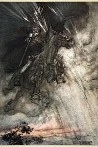 Raging, Wotan Rides to the Rock! Like a Storm-wind he comes!', 1910 by Arthur Rackham