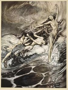 Rhinemaidens obtain possession of ring, illustration from 'Siegfried and the Twilight of Gods' by Arthur Rackham