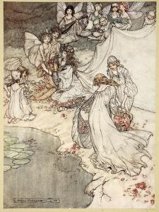 She Never Had So Sweet a Changeling, Illustration from 'Midsummer Nights Dream' by Arthur Rackham