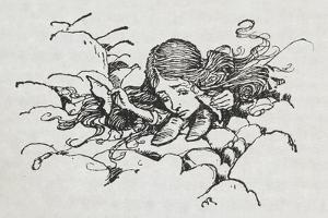 Shrunken Alice After Eating Some Of the Caterpillar's Mushroom by Arthur Rackham