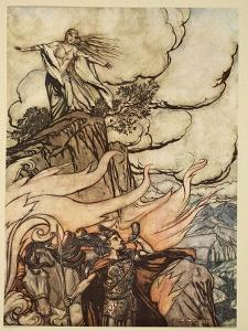 Siegfried leaves Brunnhilde in search of adventure, from 'Siegfried and the Twilight of Gods' by Arthur Rackham