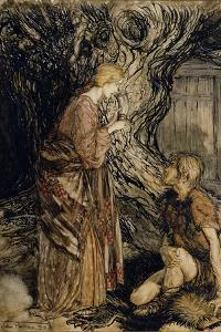 Siegmund and Sieglinde, Illustration from 'Rhinegold and the Valkyrie' by Richard Wagner by Arthur Rackham
